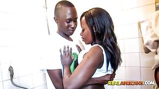 Amateur African Couple's Wet Hardcore Shower Sextape