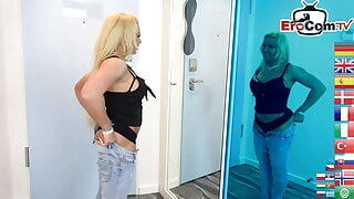 German skinny brunette milf with small tits gets fucked at home