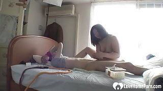 Tied up dude pleasured by Nobue Kashima