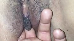 Hispanic wife showing her loose pussy a huge gushing orgasm