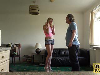 Rough fucking pussy slap - European sub slut slapped during rough anal