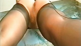 Hairy girl in ff nylons and two guys