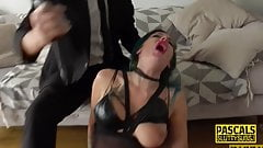 Anally pounded goth sub toys her pussy