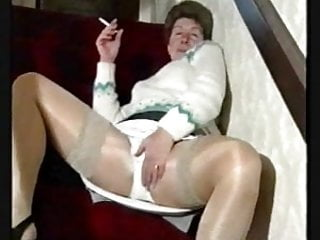 Granny hairy finger Smoking hairy granny in stockings over shiny pantyhose