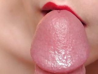 Porn up Sensual teasing close up blowjob with precum and cumshot