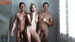 2 bodybuilders split blonde babe and cum