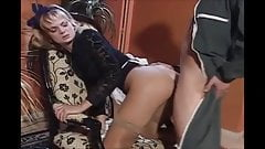 He fucks the blonde maid in stockings
