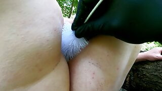 Sting a brush in my vagina in the woods