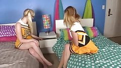 Cheerleaders try out lesbian sex