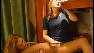 LEZDom Sex toy on pantyhose