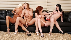 Hot dyke, Devon Le had a wild foursome with busty gals