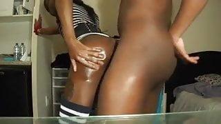 Ebony oiled shemale fuck