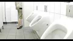 Truckers pissing in autohof toilet