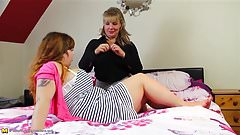 Mature busty mom seduce shy busty daughter