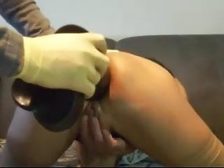 Fucked with huge objects - Mature plays gapes with her anus using huge objects - snc