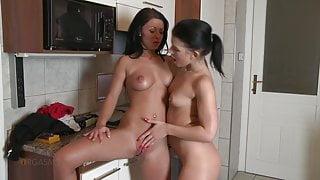 Rihanna Samuel and Tea Jul Tereza, lesbian students in the kitchen 01