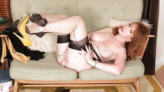 Busty Red finger fucks pussy in garter nylons leather pumps