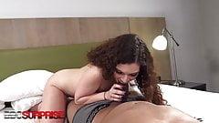 Big Titty Venezuelan Vixen Katie Surprised By Big Black Cock