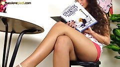 Teenage barefoot brunette in platform heels