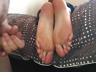 Jap bitch and monster cock Monster cumshot on a bitch feet