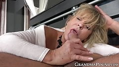 Hot granny rides young dude's big dick and takes cum in mouth