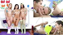 SWALLOWED AJ, Keisha and Violet share and gag on big cock