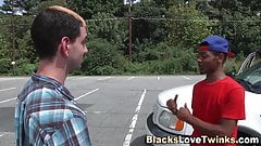 Twink gets interracial cumshot