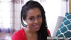 Cute and tight ebony babe with dreads is drilled super hard