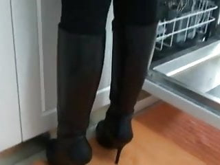 Wife wearing garters fuckedby black cock - My wife wearing black leather hidden platform