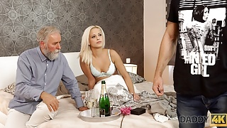DADDY4K. Blonde-haired dollface Ria Sun tries old dick