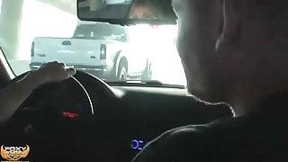 TS blowjob in car