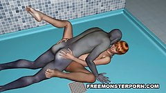 Short Haired 3D Babe Sucks and Fucks a Zombie