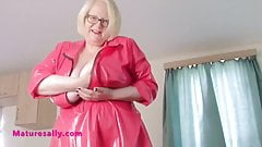 British Granny's big tits in a short PVC dress