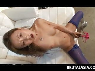 Asian girls taking cock Skinny asian girl takes a thick cock down her ass