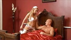 British blonde slut gets fucked looking after a poorly man