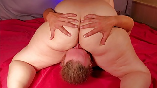 Cute Chubby Girl Sits on His Face and Makes Him Eat Her Ass