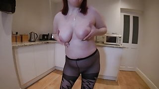 Sexy dancing in patterned pantyhose