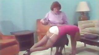 2 women spanked in white satin panties