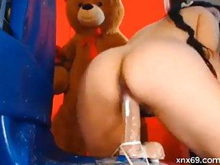 Milfs fuck cock dildo Brunette bella fucks her twat with a big dildo