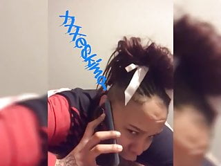 At t phones suck Ebony on phone to babyfather whilst sucking dick