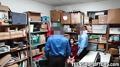 Teen shoplifter Audrey Royal fucked by two security officers
