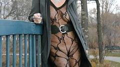 Lace bodysuit flashing on the boardwalk