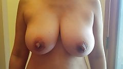 Pregnant Asian Milf Bouncing Her Tits