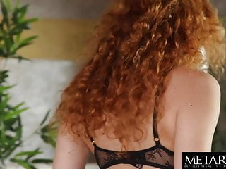Hot sexy lingerie Redhead in sexy lingerie plays with her hot shaved pussy