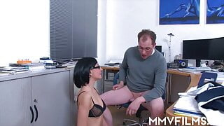 Brunette honey in glasses gets facialized in the office