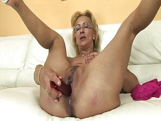 Horny grandma with stripper Horny grandma enjoys rimming with stepson