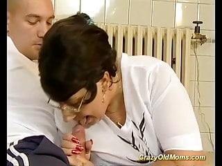 Food for a strong dick Chubby mom enjoys a strong dick