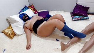 fat slut tickles her fat body with a feather and sucks cock