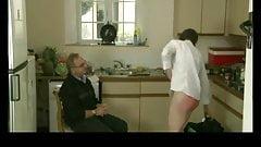 dad spanks   older daughter in the kitchen