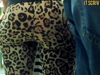 Color island print st thomas virgin Jiggly ebony booty in cheetah print leggings full video
